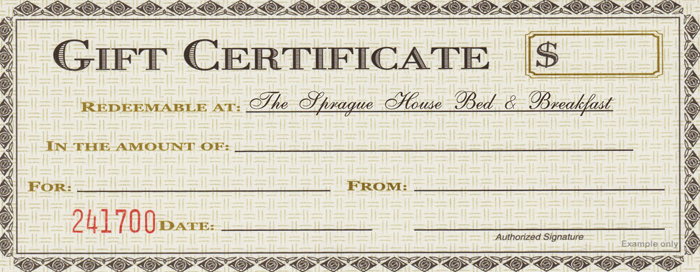 Email The Sprague House for a Gift Certificate
